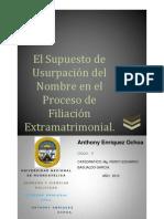 El Supuesto de Usurpación del Nombre en el Proceso de Filiación Extramatrimonial