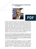 Novel and Relevant Evidence Against Criminal Hiper Eric Holder