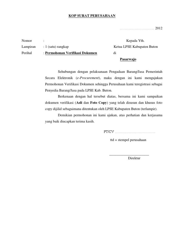 Format Surat Permohonan Verifikasi