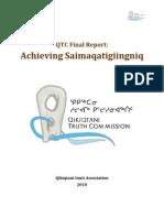 Qiqitani Truth Commission Achieving Saimaqatigiingniq-QTC Final Report Oct FINAL