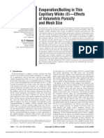 """Evaporation/Boiling in Thin Capillary Wicks """"II…—Effects of Volumetric Porosity and Mesh Size"""