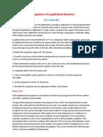Propagation of Lyophilised Bacteria