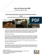 Boletín 085_ Descartada Intoxicación en 42 niños del Municipio de Silvia-Cauca