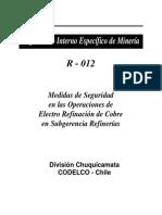 Medidas de Seguridad en Las Operaciones de Electro Refinacion de Cobre en Subgerencia Refinerias
