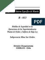 Medidas de Seguridad en Las Operaciones de Las Superintendencias Planta de Oxidos y Sulfuros de Baja Ley