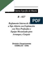 reglamento interno de minas a tajo abierto con explotacion con tiros profundos y equipo mecanizado para arranque y carguío