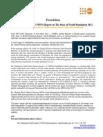Unfpa Sowp 2012 Press Release