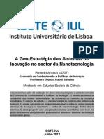 Geo-Estratégia dos Sistemas de Inovação na Nanotecnologia!