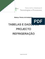 Tabelas e dados de projecto REFRIGERAÇÃO