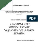 Lansarea Apei Minerale Plate Aquaviva Pe o Piata Straina