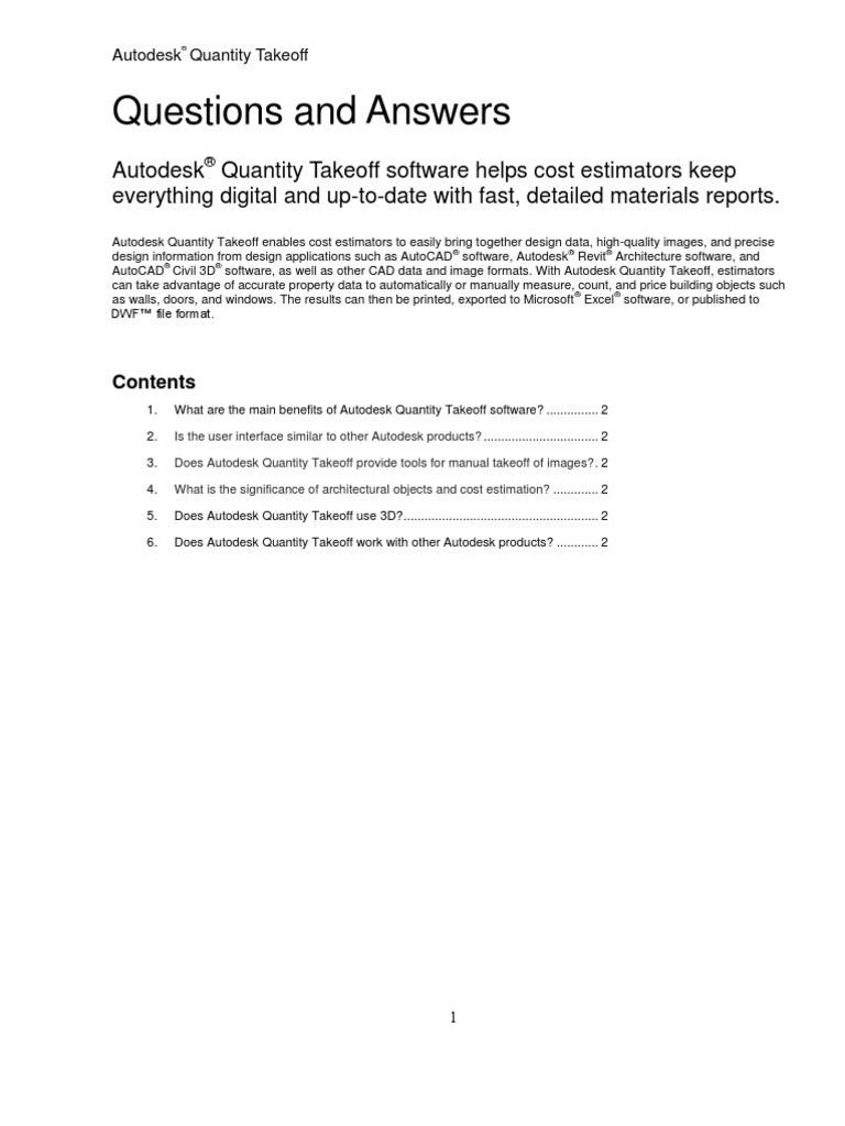 Autodesk Quantity Takeoff FAQ | Autodesk | Auto Cad