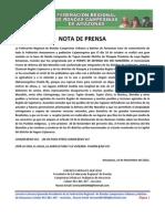 Nota de Prensa Sobre c. h. Chadin 2 de Odebrecht - Federacion de Rondas Campesinas de Amazonas
