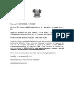 HOMOLOGAÇÃO LICITAÇÃO N 02 CONSTRUÇÃO CISTERNAS NO ESTADO