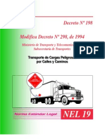 decreto Nº 198 modifica decreto Nº 298, de 1994 ,transporte de cargas peligrosas por calles y caminos