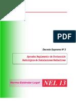 decreto supemo Nº 3 aprueba reglamento de proteccion radiologica de instalaciones radiactivas