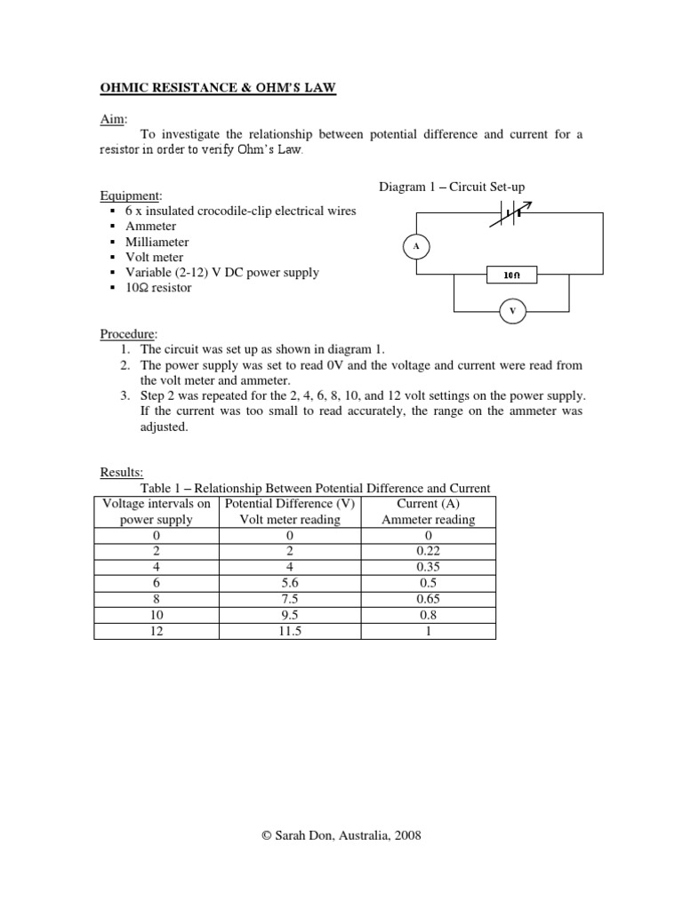 Ohmic Resistance and Ohm\'s Law | Electrical Resistance And ...