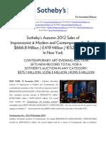Results - Impressionist, Modern & Contemporary Sales - NY, Nov 2012