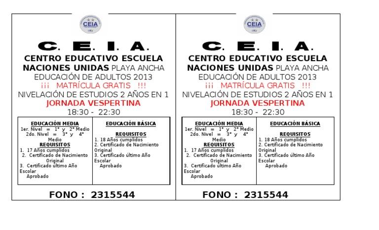 certificado de educación de adultos