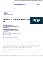 University of Delhi M.sc Physics Entrance Test 2012 Entrance Exam Dates Application Forms Eligibility Syllabus Admission Test Papers Results