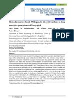 Molecular Marker Based (SSR) Genetic Diversity Analysis in Deep Water Rice Germplasms of Bangladesh