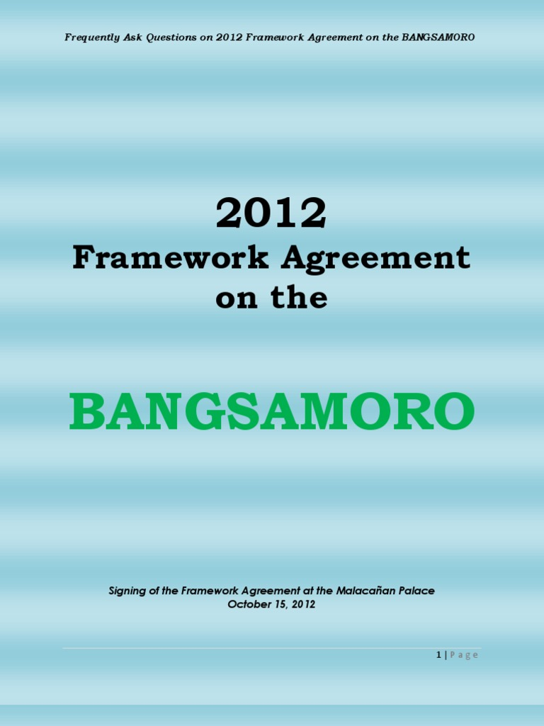 Frequently Ask Questions On 2012 Framework Agreement On The