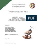 PROGRAMAS EN LA ATENCIÓN PRIMARIA DE SALUD