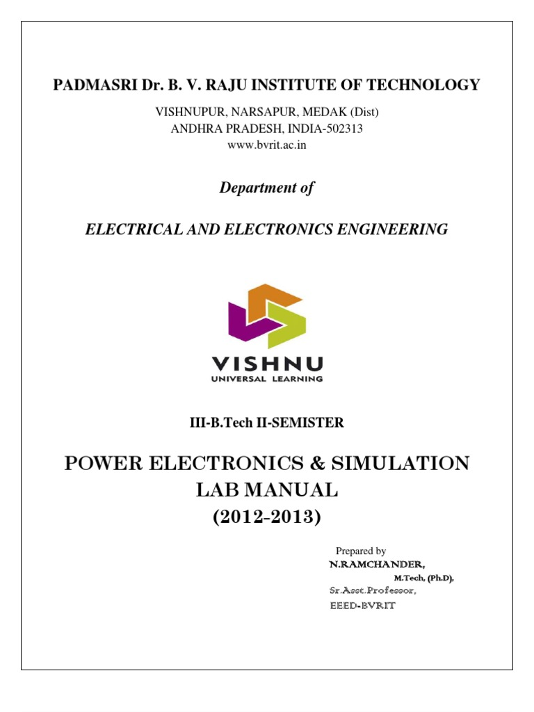 Power Electronics Lab Manual 2012 2013 Field 5v Symmetrical Regulated Supply 1a Electronicslab Effect Transistor