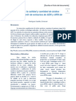 Evaluación de la calidad y cantidad de ácidos nucleicos a partir de extractos de ADN y ARN de osteoictios
