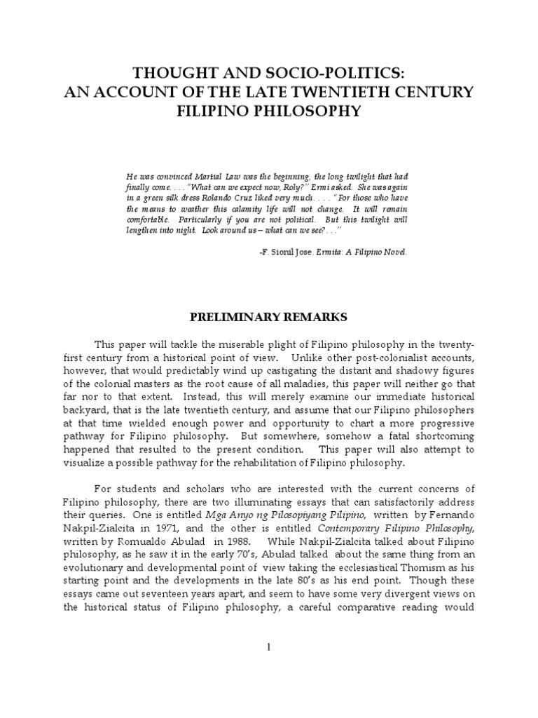 filipino philosophy essay