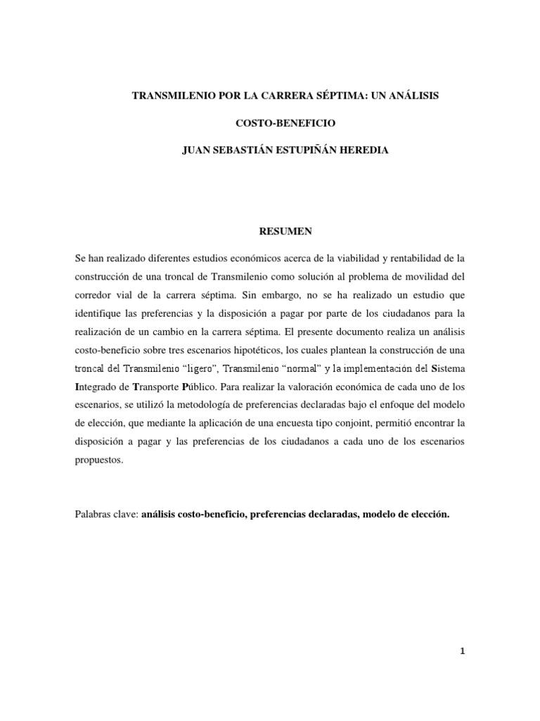 Análisis Costo Beneficio Transmilenio por la carrera septima