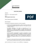 Respuesta Derecho de petición Oscar Alejandro Garzón