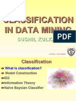 Classification algorithms used in Data Mining. This is a lecture given to Msc students.