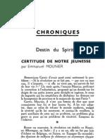 Esprit - 8 - 10 - Mounier, Emmanuel - Certitude de Notre Jeunesse