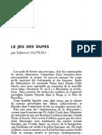 Esprit - 8 - 11 - Humeau, Edmond - Le Jeu Des Dupes