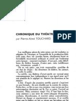 Esprit - 8 - 12 - Touchard, Pierre-Aimé - Chronique du théâtre vivant