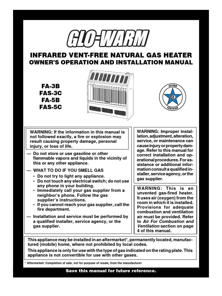 Glo Warm Natural Gas Heater Manual Hvac Ventilation Architecture 1 Touch Space Wiring Diagram