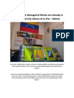 Nine H.Dubric Managerial Works are already in the Central City Library of La Paz – Bolivia