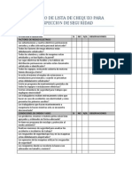 Formato de Lista de Chequeo Para Inspeccion de Seguridad
