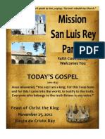 Bulletin for 11-25-2012