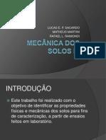 MECÂNICA DOS SOLOS I - apresentação resultados