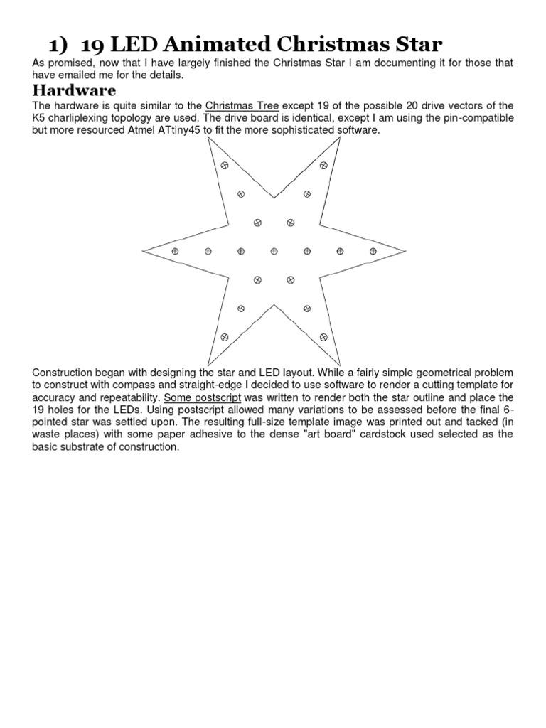 19 LED Animated Christmas Star | Microcontroller | Light Emitting Diode