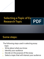 1 Selecting a Topic of Essay or Research Topic