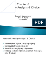 Chapter 6 Analysis & Strategy Choice Fred R. David