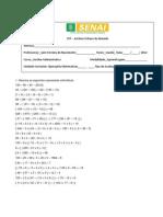 Exercício de Fixação de Operações Matemáticas _ Aux Administrativo - Correios