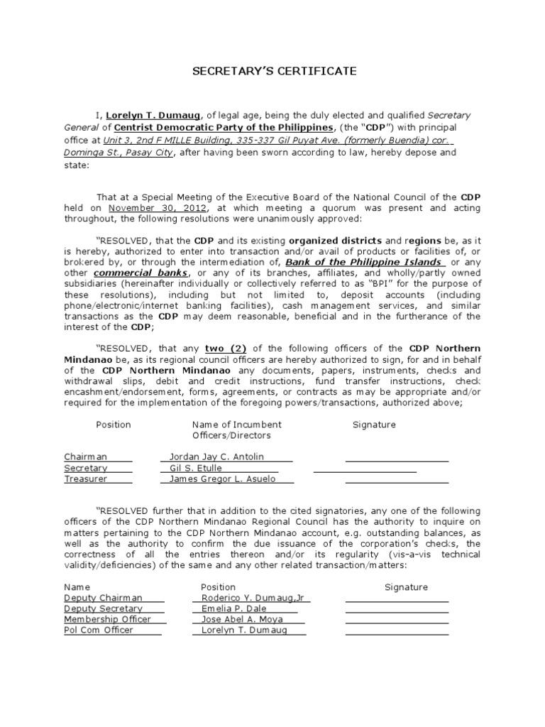 board resolution or corporate secretarys certificate with representatives cheque board of directors