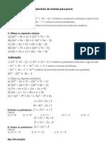 Exercicios de Revisao Polinomios