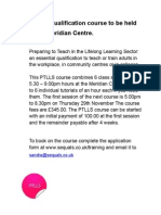 PTLLS Qualification Course to Be Held at the Meridian Centre