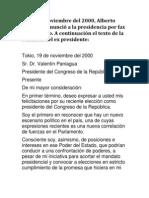 Carta de Renuncia Por Fax de Alberto Fujimori