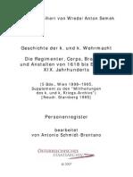 A. von Wrede, Geschichte der k.u.k. Wehrmacht, Personenregister