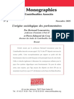Origine Sociologique Des Parlementaires Monographie de Contribuables Associés